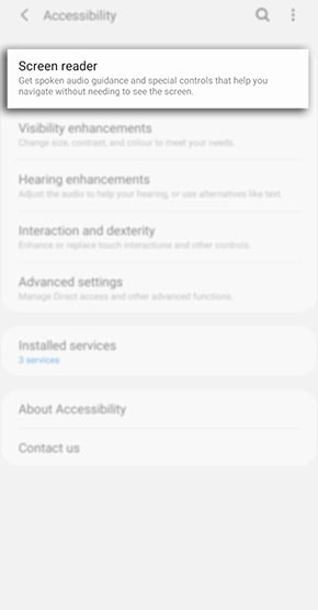 samsung screen reader settings